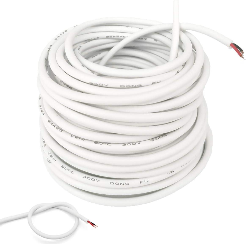 300V R/ésistant /à Lusure R/ésistance /à Loxydation pour Accessoires Electriques Petit 10 M/ètre Fil /Électrique Blanc 2 Noyau Fil /Électrique C/âble 24 AWG Rond Flexible PVC Cuivre de C/âble