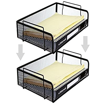 Set of 2 Black Mesh Wire Stackable Document Trays, Folder Letter Racks
