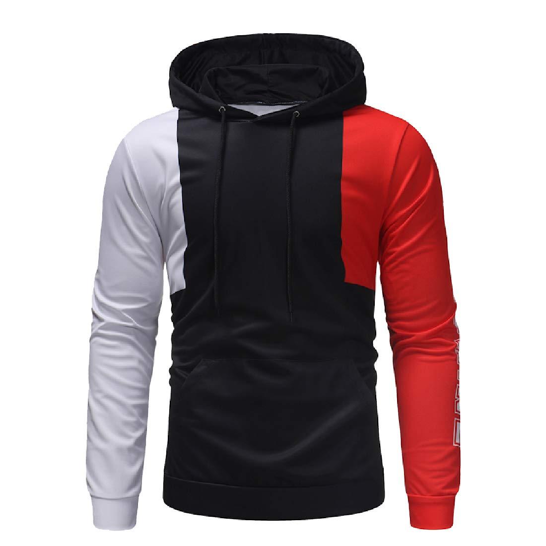 YUNY Men Fall Winter Contrast Casual Athletic Long-Sleeve Sweatshirt Red 2XL