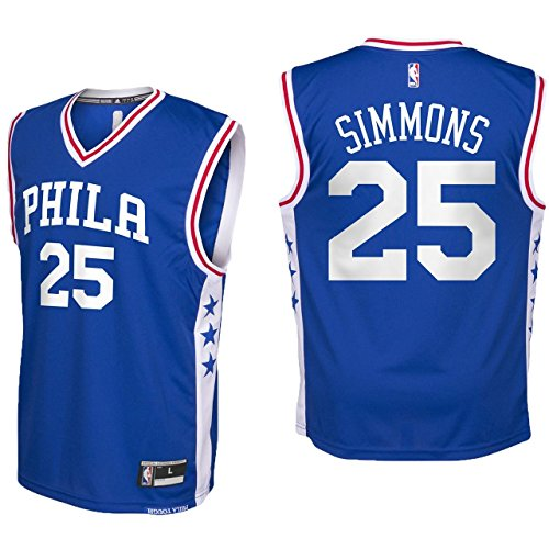 Ben Simmons Philadelphia 76ers #25 Blue Youth Road Replica Jersey Medium (76ers Youth Jersey)