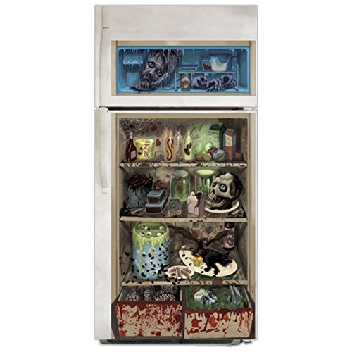 Decoration Zombie Door (Halloween Refrigerator Door Decoration Butcher Rotting Dead Zombie Shop)