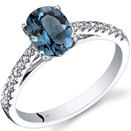 14K White Gold London Blue Topaz Ring Oval Cut 1.25 Carats ()