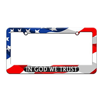 img buy Graphics and More in God We Trust Black - USA - License Plate Tag Frame - American Flag Design