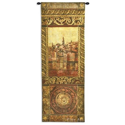 New Enchantment Ii by John Douglas - Woven Tapestry Wall Art Hanging for Home & Office Decor - Mediterranean Villa with Elaborate Decorative Classical European - 100% Cotton-USA 69X25