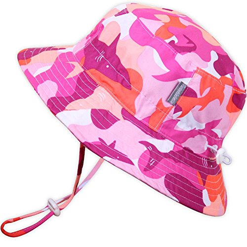 Kids 50+ UPF Bucket Sun Hat, Size Adjustable Aqua Dry ( L: 15m - 5Y, Pink Shark ) by JAN & JUL