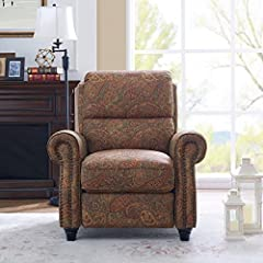 Sit back and relax in this rounded arm reclining chair accented with hand-tacked antique bronze nail heads. Simply push back to recline, no levers or buttons required. Comfortable sit & arm support, long-term sitting, TV viewing, relaxed ...