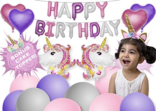 Magical Unicorn Party Supplies - Unicorn Party Decorations with BONUS Unicorn Cake Topper Perfect for Birthday Party | Balloons, Headband, and Banner! By Unicorn Sparkles by Unicorn Sparkles