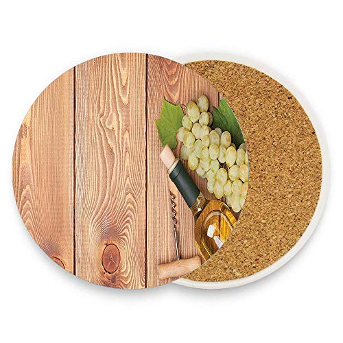 Grapes Wine Bottle Coaster - PoppyAnthony Winery Wine Bottle Bunch Grapes On Wooden Table Background Romantic Italian Dinner Theme Green Brown Coaster for Drinks Hot Pads Table Cup Mat Coaster Pack Of 1