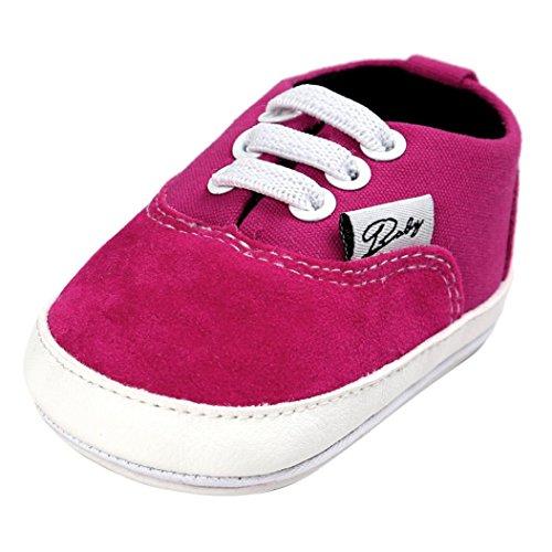 Tefamore BABY Zapatos bebé de lona de los muchachos del ocasionales Antideslizante Único de la zapatilla de deporte Rosas fuertes