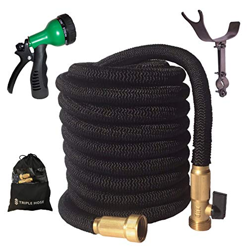 2019 Expandable Garden Hose | Strongest Expanding Triple Layer Core | Durable Nylon | Solid Brass Fittings/Shut Off Water Valve | 8 Way Nozzle | Stainless Steel Holder | Gift/Storage Bag (50, Black)