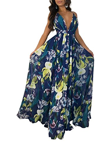 (Remelon Womens Sexy Spaghetti Strap Deep V Neck Floral Boho Criss Cross Backless Chiffon Beach Party Long Maxi Dress Navy S)