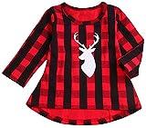 SUPEYA Baby Girls Christmas Deer Print Blouse One-Piece Plaid Print Dress Tops