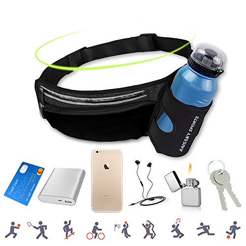 (AFFLEXY Fanny Pack with Water Bottle Holder, Running Waist Bag Hiking Waist Pack Multifunctional Sports Waist Bag for Running, Hiking, Climbing, Riding and Walking, etc)