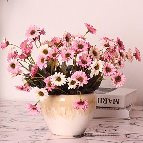 xhoposホーム人工花ヨーロピアンスタイルプラスチックデイジーピンクフラワー花瓶ウェディングデコレーションブライダルアクセサリーフェイク花at-456 B078BMGZRN