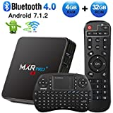 Android TV Box, HAOSIHD MXR Pro Plus Android 7.1 TV Box with Remote Control & Mini Keyboard, 4GB RAM 32GB ROM RK3328 Quad-core, Support 4K Full HD Dual-Band Wi-Fi 2.4/5Ghz BT 4.0 Smart TV Box