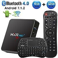Android TV Box, HAOSIHD MXR Pro Plus Android 7.1 TV Box with Remote Control & Mini Keyboard, 4GB RAM 32GB ROM RK3328 Quad-core, Support 4K Full HD Dual-Band Wi-Fi 2.4/5Ghz BT 4.0 Smart TV Box