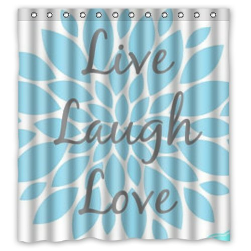 Delicate Inspirational Quotes Live Laugh Love Pattern Polyester Shower Curtain 66 X 72