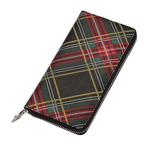 Zip Wallet Muted Contemporary Tartan (Red, Black & Green) Made With Pu by JOE COOL