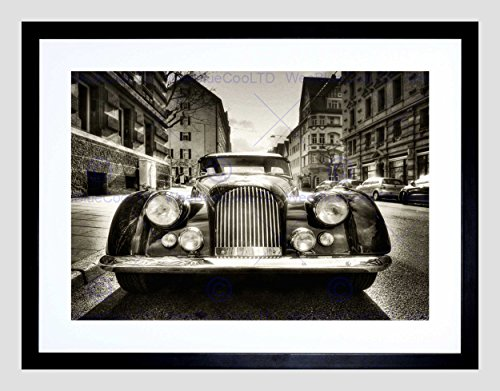 (Morgan Oldtimer Vintage CAR Black White Black Framed Art Print Picture B12X8115)