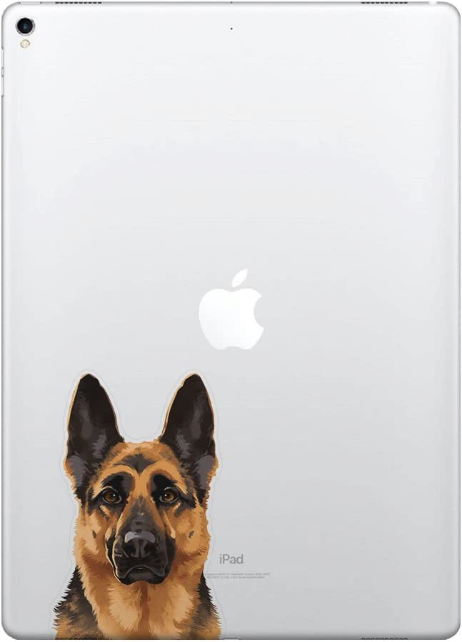 FINCIBO 5 x 5 inch Cute Black Tan German Shepherd Dog Removable Vinyl Decal Stickers for iPad MacBook Laptop (Or Any Flat Surface)