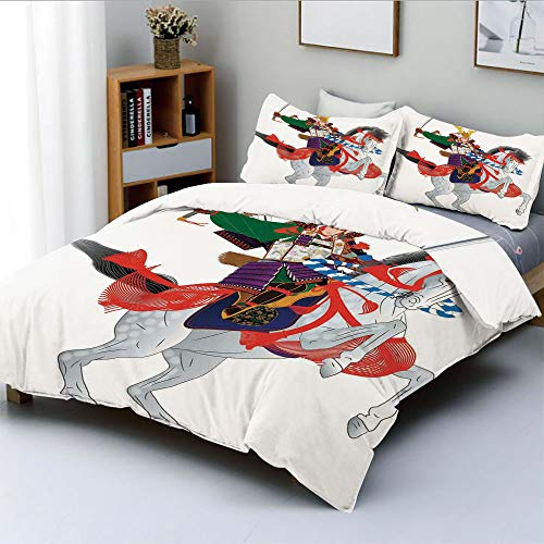 Duplex Print Duvet Cover Set Twin Size,An Asian Soldier with Local War Clothes Armour Riding a Prancing Horse IllustrationDecorative 3 Piece Bedding Set with 2 Pillow Sham,Red Green,Best Gift For - Carousel Prancing