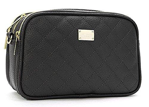 Three Pockets Quilting Cross Handbag (Black)