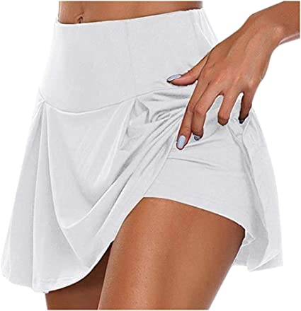 Donna Gonna Estate con Pantaloncini Vita Alta Swing Gonna Sportivi da Tennis Corsa Shorts Gonna da Tennis Tinta Unita Gonne da Yoga Sportivi Gonna Taglie Forti S-3XL