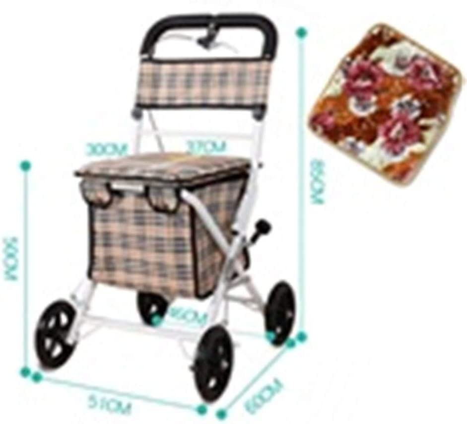 Color : A QARYYQ Trolley Folding Portable Old Scooter Shopping Cart Seat Can Sit Four Rounds of Grocery Shopping to Send Comfortable Warm Air Cushion Trolley