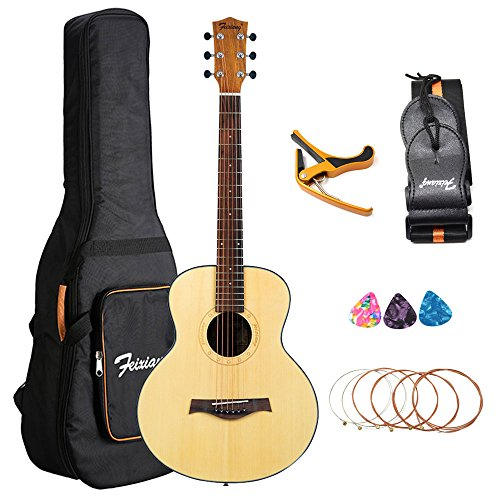 Travel Acoustic Guitar 36 inch Right Hand Guitar Kit with Easy to Carry Gig Bag Strap Capo Picks - Travel Guitar Strap