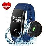 Fitness Tracker - Activity Tracker Smart Band Wireless Watch Bluetooth 4.0 Wristband Waterproof IP67 Bracelet with Heart Rate Monitor - pedometer - Calories track - Sleep monitor (Blue)
