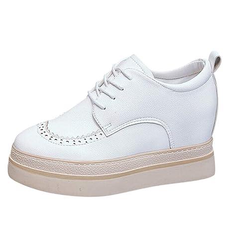 LuckyGirls Calzado Deportivo de Mujer Moda Zapatillas de Correr Casuales Zapatos Bambas Zapatillas de Suela Gruesa Aumento 4cm: Amazon.es: Deportes y aire ...