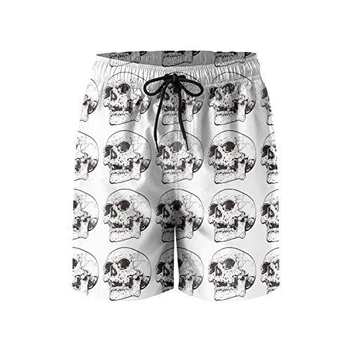 (Men's Swim Trunks Skull on Black Quick Dry Bathing Suits Mesh Lining Beach Board)