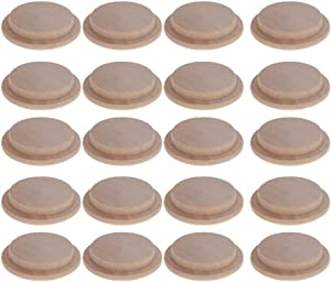 MroMax 25Pcs Wood Button Top Plugs 0.8Inch Cherry Hardwood Furniture Plugs for DIY Project Woodworking