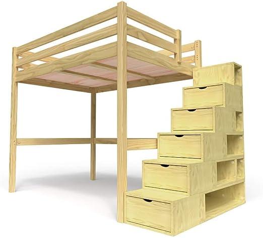 ABC MEUBLES - Cama Alta Sylvia con Escalera Cubo - Cube - Miel, 140x200: Amazon.es: Hogar