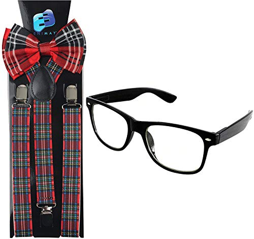 Enimay Suspender Bowtie Nerd Clear Glasses Nerd Costume Halloween (Red Plaid)
