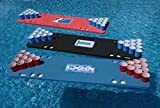 Red Pool Pong Foam Beer Pong Table, Easily Play in The Pool, 6ft, Foam, All Weather, Portable, Comes with Recessed Cup Holes