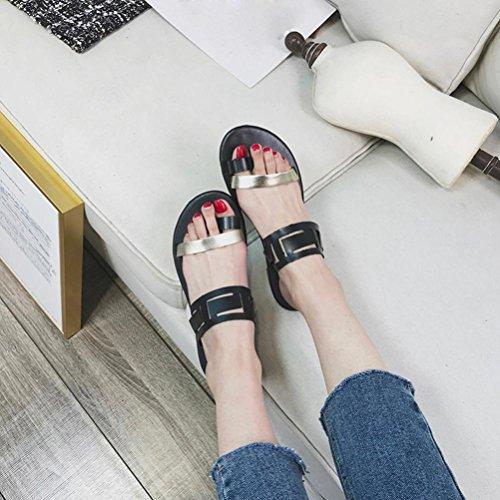 Sandales Beautyjourney Mixte Flat Tongs Été Spartiate Sandals Ado Talon Amovibles Creux Noir Sandales Sandale Tongs Sexy Mode Semelles Fille Casual Sandales 8UqIr8