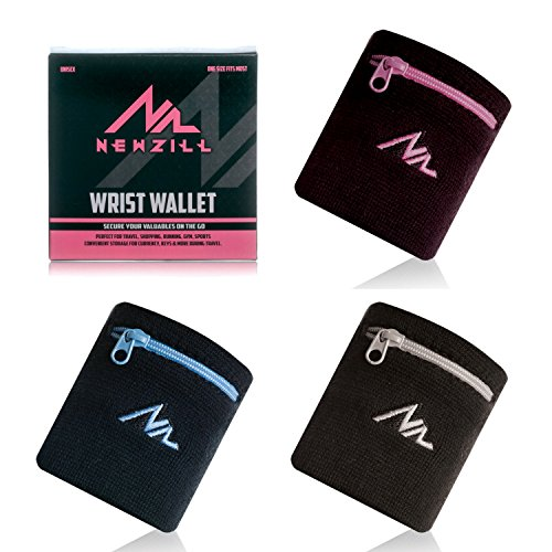 Sports Purse - NEWZILL Sports Thick Solid Color Wristband with Zipper/Wrist Wallet (Black/Pink)