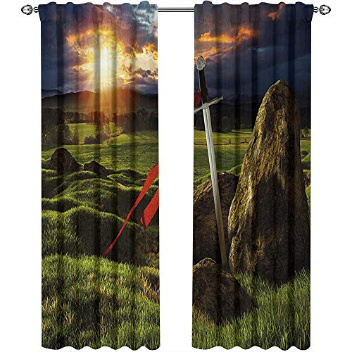 - King, Curtains Thermal Insulated, Arthur Camelot Legend Myth in England Ireland Fields Invincible Myth Image, Curtains Girls Bedroom, W72 x L108 Inch, Green Blue and Red