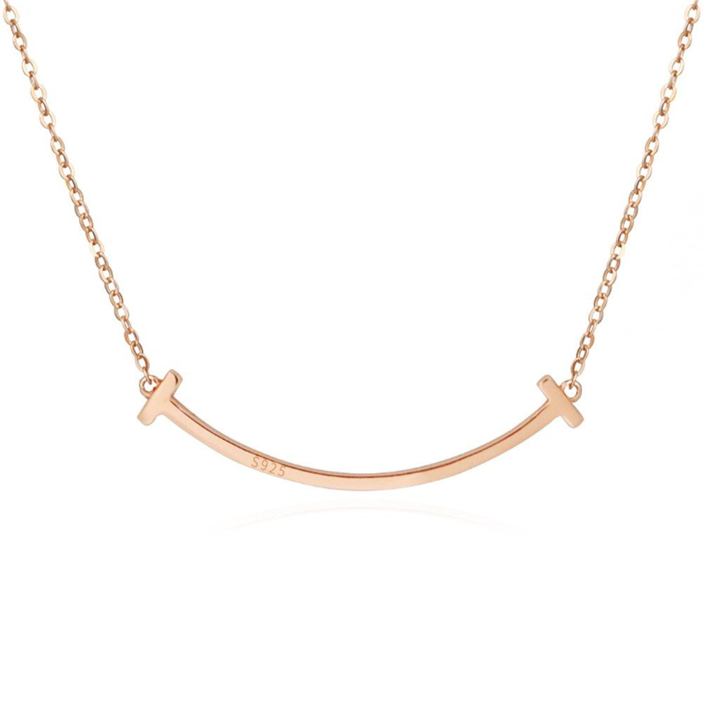Dana Carrie Women jewelry Smiley S925 Sterling Silver Necklace Simple Clavicle Chain Creative Pendant 40cm Rose Gold