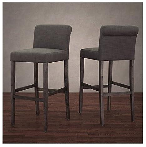 timeless design 53d62 32488 Wood Upholstered Grey Linen Barstools (Set of 2)