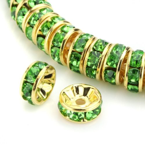 - 100pcs Best Quality Rondelle Spacer Beads 8mm Peridot Green Top Quality Austrian Crystal Rhinestone 14k Gold Plated Copper Brass CF4-816