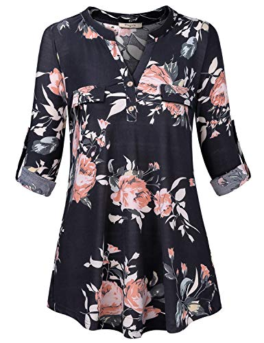 Cestyle Floral Tops for Women,Ladies Long Sleeve Casual Shirt Lightweight Elegant Stand Collar V Neck Work 2018 Fashion Aline Loose Stretchy Pattern Printed Clothing Black XX-Large