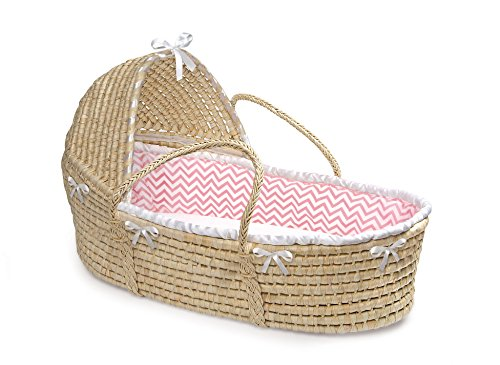 Hooded Baby Moses Basket with Liner, Sheet, and Pad from Badger Basket