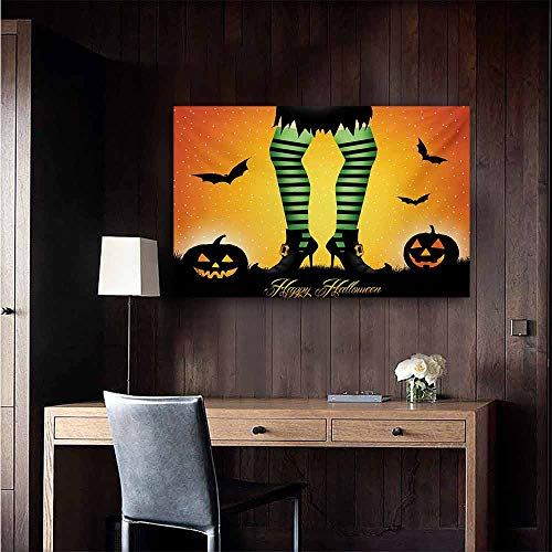 duommhome Halloween Modern Oil Paintings Cartoon Witch Legs with Striped Leggings Western Concept Bats and Pumpkins Print Canvas Wall Art 35