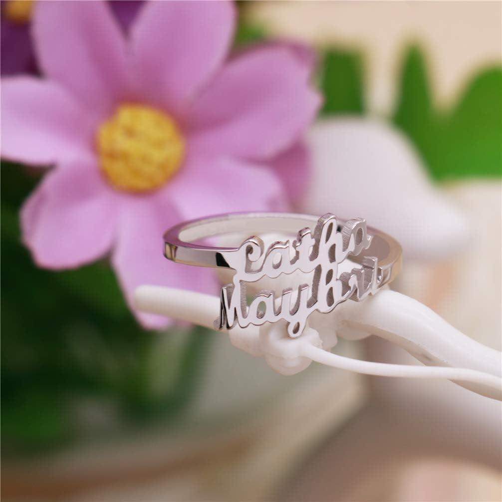 KIKISHOPQ Ring Personalized 2-Row Name Ring Engagement Ring Birthday