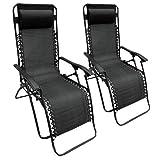 Set of 2 Heavy Duty Textoline Zero Gravity Reclining Garden Sun Lounger Chairs