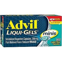 Advil Liqui-Gels Minis Pain Reliever / Fever Reducer Liquid Filled Capsule, 200mg Ibuprofen, Temporary Pain Relief (160 Count)