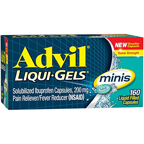 Pain Liquid - Advil Liqui-Gels minis (160 Count) Pain Reliever/Fever Reducer Liquid Filled Capsule, 200mg Ibuprofen, Easy to Swallow, Temporary Pain Relief