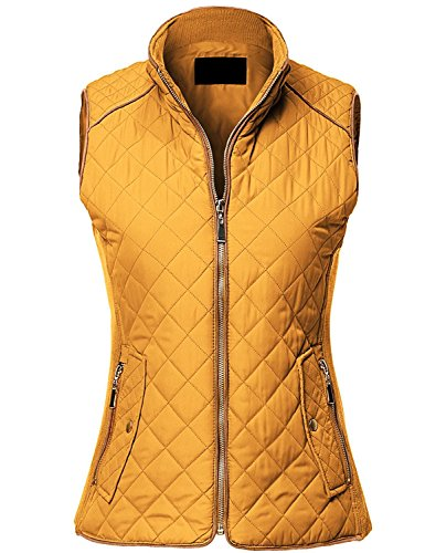 MAYSIX APPAREL Womens Sleeveless Lightweight Zip Up Quilted Padding Vest Jacket DARKMUSTARD M